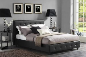 Best Platform Beds DHP Platform Bed, Dakota Faux Leather Tufted Upholstered Platform Bed