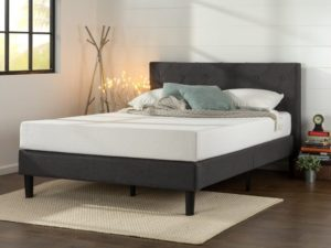Best Platform Beds Zinus Upholstered Diamond Stitched Platform Bed with Wooden Slat Support