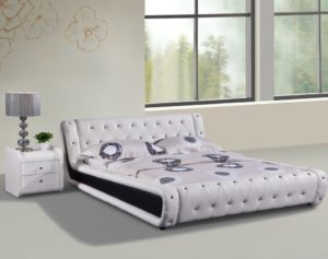 Container Direct Dorian Collection Faux Leather Diamond Tufted Platform Bed