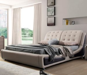 US Pride Furniture B8049-QB Victoria Leather Contemporary Platform Bed