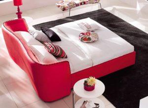 Vitali Leather Red Queen Platform Bed by Zuri Furniture