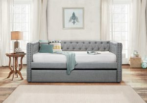 Homelegance Adalie Tuxedo Twin Size Fabric Trundle Daybed
