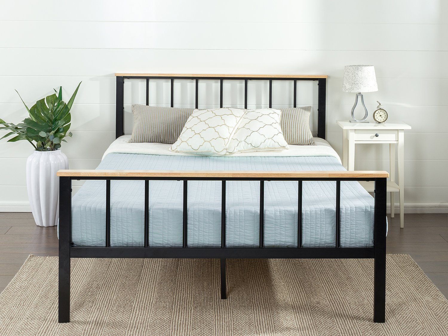 Zinus Contemporary Metal Amp Wood Platform Bed Bedroom