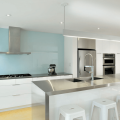 kitchen blue backplash